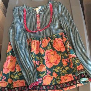 Matilda Jane striped floral blouse tunic 10